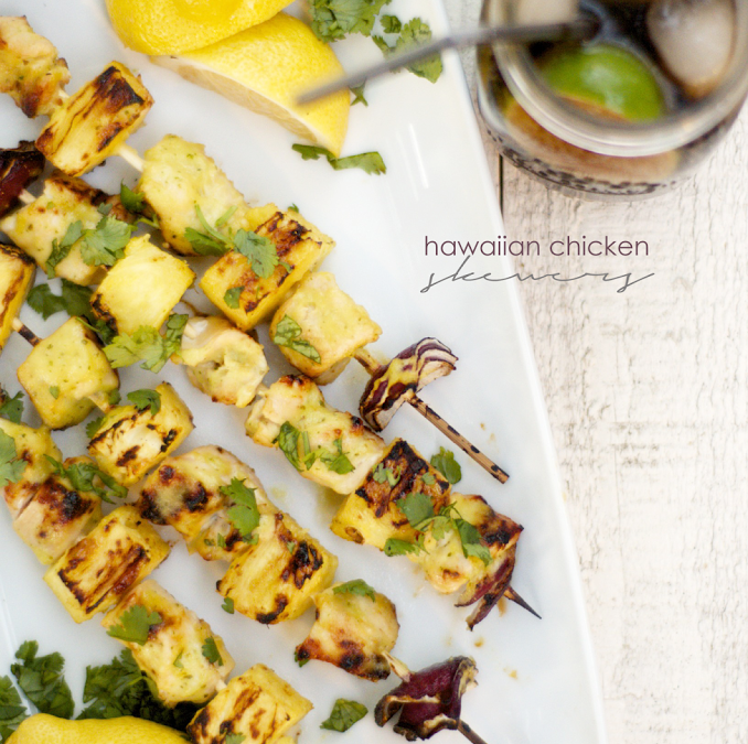 hawaiian pineapple glazed chicken skewers